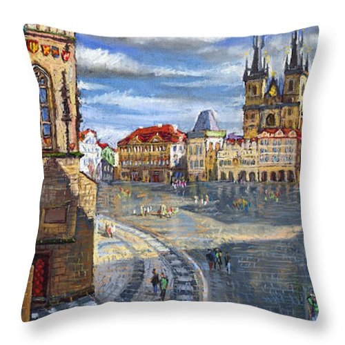 Pastel Throw Pillow featuring the painting Prague Old Town Squere by Yuriy Shevchuk