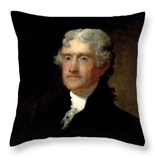 Thomas Jefferson Throw Pillow featuring the painting President Thomas Jefferson by War Is Hell Store