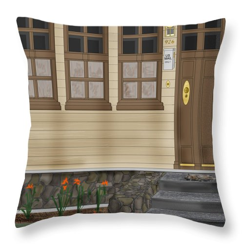 Townscape Throw Pillow featuring the painting Rags On The Front Steps by Anne Norskog