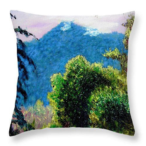 Rain Forrest Throw Pillow featuring the painting Rain Forrest by Stan Hamilton