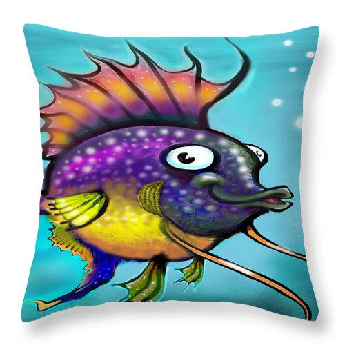 Rainbow Throw Pillow featuring the painting Rainbow Fish by Kevin Middleton
