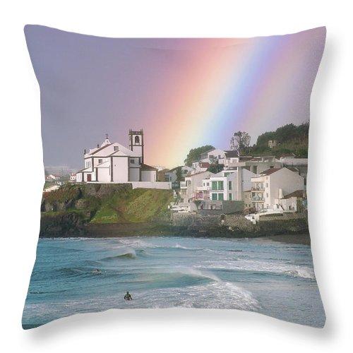 Rainbow Throw Pillow featuring the photograph Rainbow by Gaspar Avila