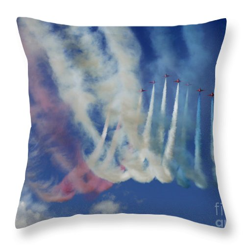 Red Arrows Throw Pillow featuring the photograph Red Arrows by Angel Ciesniarska