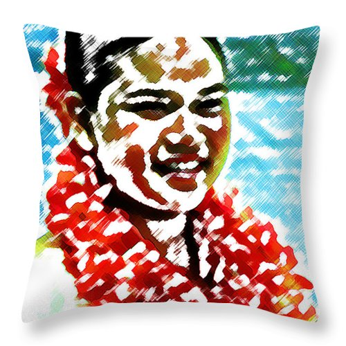 Red Lei Throw Pillow featuring the digital art Red Lei by James Temple