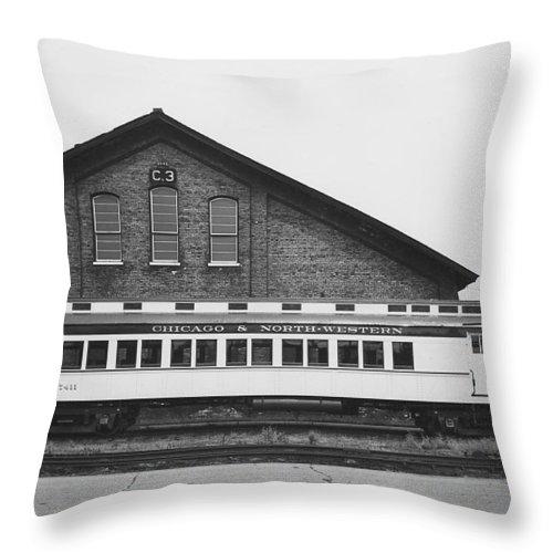Passenger Trains Throw Pillow featuring the photograph Refurbished Car 7411 - 1960 by Chicago and North Western Historical Society