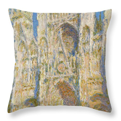 Architectural Throw Pillow featuring the painting Rouen Cathedral, West Facade, Sunlight by Claude Monet