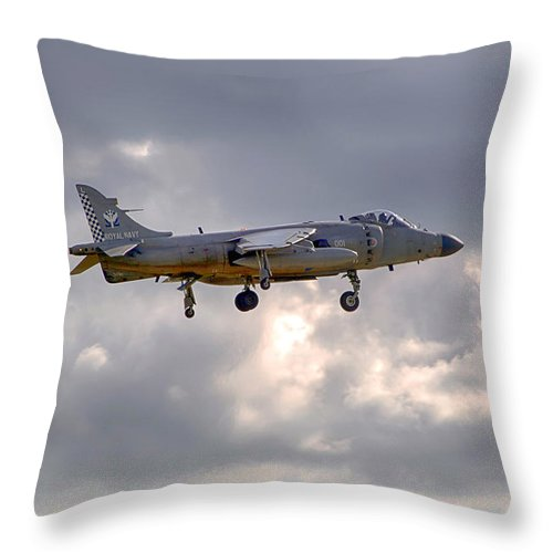 Royal Navy Throw Pillow featuring the photograph Royal Navy Sea Harrier by Chris Smith