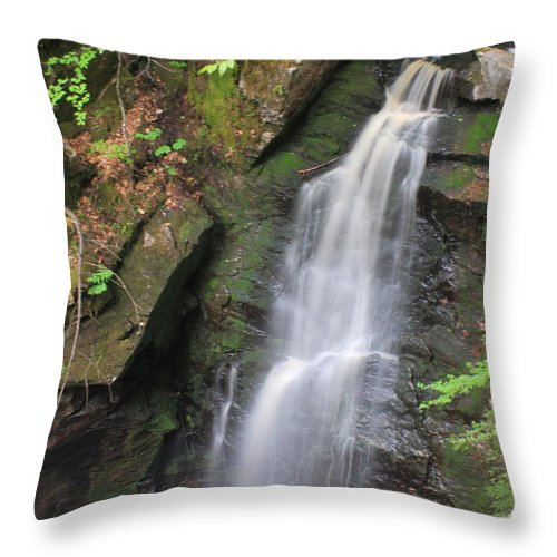 New England National Scenic Trail Throw Pillow featuring the photograph Royalston Falls by John Burk