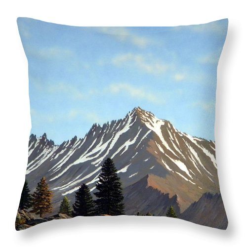 Landscape Throw Pillow featuring the painting Rugged Peaks by Frank Wilson