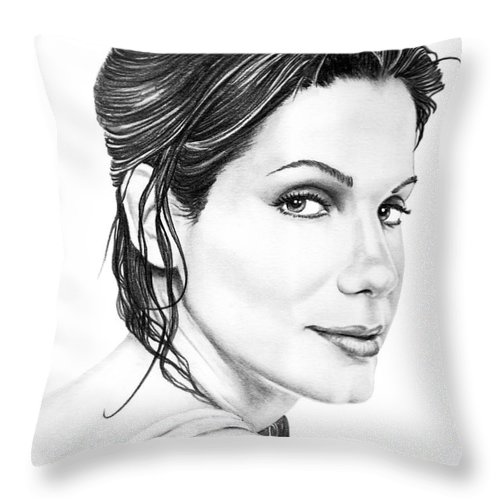 Pencil Throw Pillow featuring the drawing Sandra Bullock by Murphy Elliott