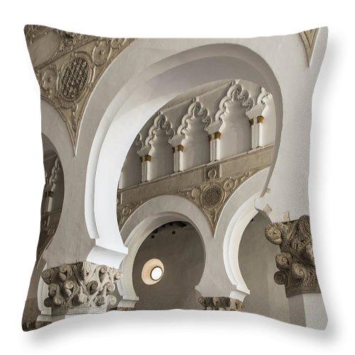 Synagogue Throw Pillow featuring the photograph Santa Maria La Blanca Synagogue - Toledo Spain by Jon Berghoff