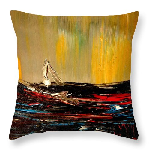 Throw Pillow featuring the painting Seascape by Mark Kazav