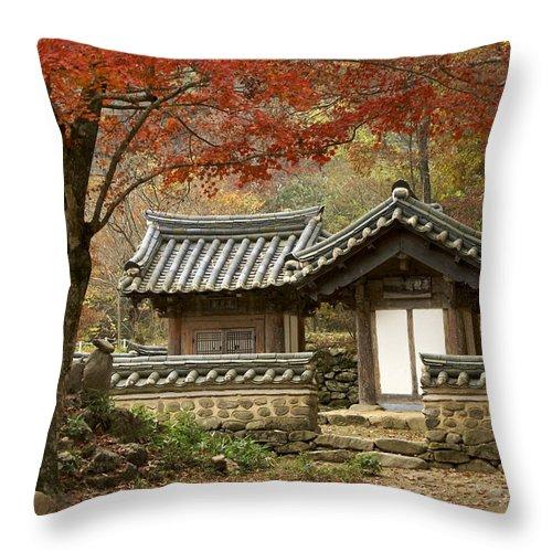 Korea Throw Pillow featuring the photograph Seonamsa In Autumn by Michele Burgess