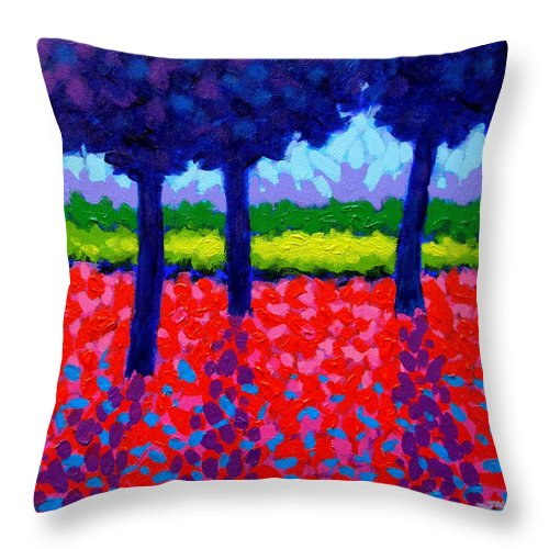 Trees Throw Pillow featuring the painting Shadow Trees by John Nolan