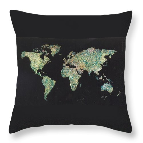 World Maps Throw Pillow featuring the painting Shattered World by Rick Silas