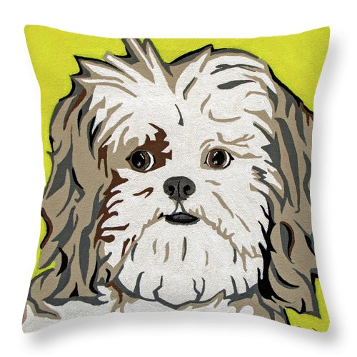 Shih Tzu Throw Pillow featuring the painting Shih Tzu by Slade Roberts
