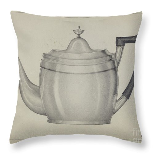 Throw Pillow featuring the drawing Silver Teapot by Giacinto Capelli