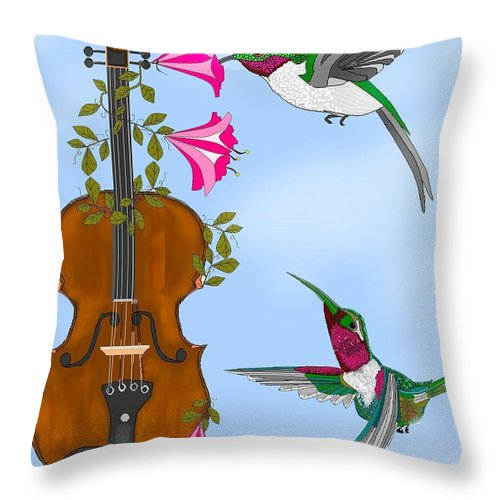 Fantasy Throw Pillow featuring the painting Singing The Song Of Life by Anne Norskog