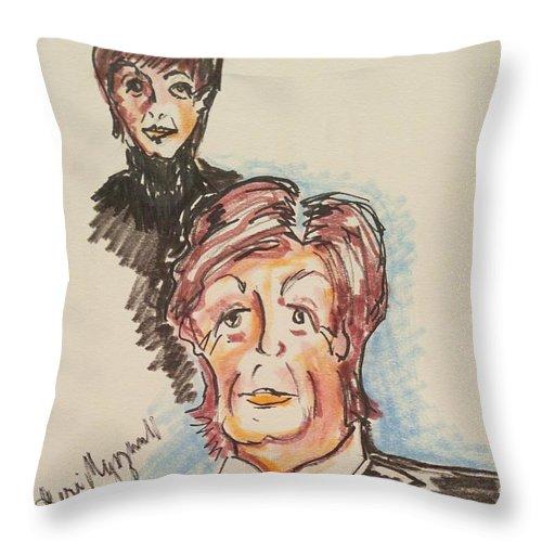 Paul Mccartney Throw Pillow featuring the painting Sir Paul Mccartney by Geraldine Myszenski