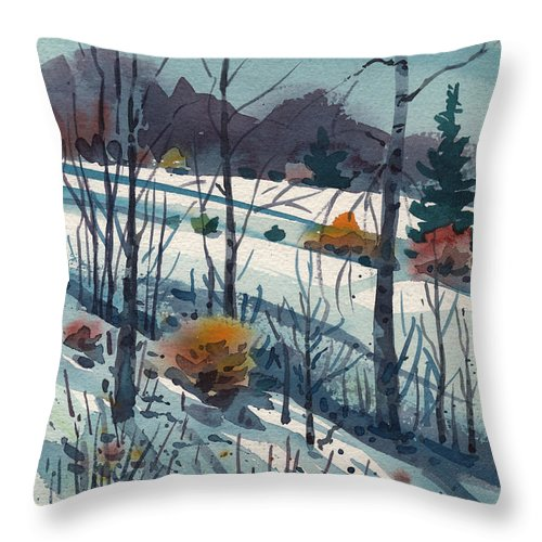 Snow Throw Pillow featuring the painting Snowy Hillside by Donald Maier