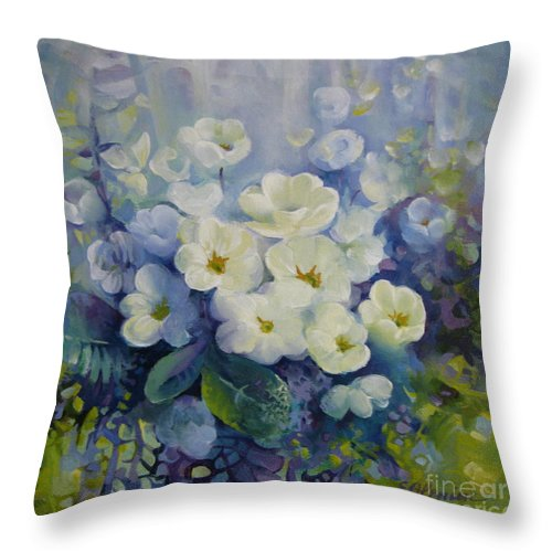 Primrose Throw Pillow featuring the painting Spring by Elena Oleniuc