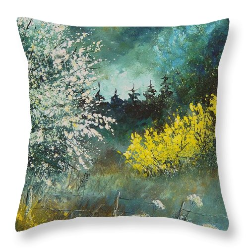 Spring Throw Pillow featuring the painting Spring by Pol Ledent