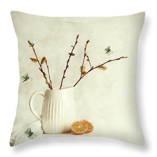 Pretty Throw Pillow featuring the photograph Springtime Still Life by Amanda Elwell