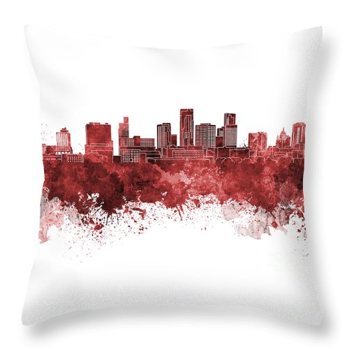 St. Paul Skyline Throw Pillow featuring the painting St. Paul Skyline In Watercolor Background by Pablo Romero