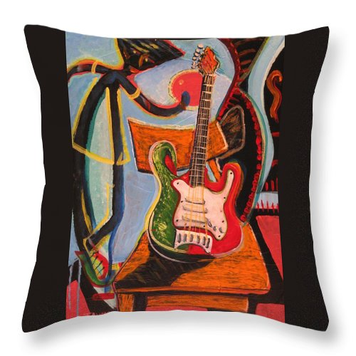 Abstract Throw Pillow featuring the painting Still Life On The Go-go by Dennis Tawes