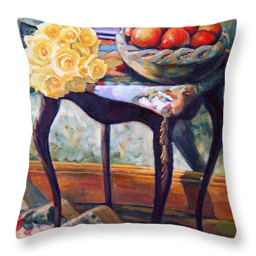 Still Life Throw Pillow featuring the painting Still Life With Roses by Iliyan Bozhanov