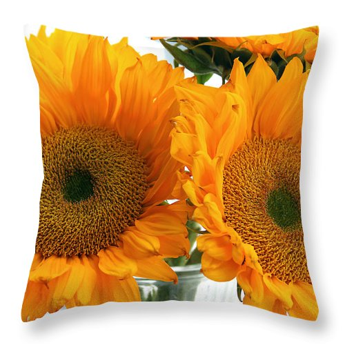 Sunflowers Throw Pillow featuring the photograph Sunflowers by Todd Blanchard