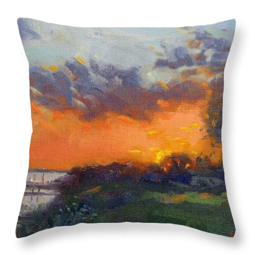 Sonset Throw Pillow featuring the painting Sunset At Gratwick Waterfront Park by Ylli Haruni