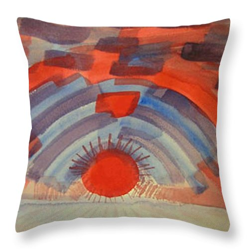 Landscape Throw Pillow featuring the painting Sunset On The Horizon by Natalee Parochka