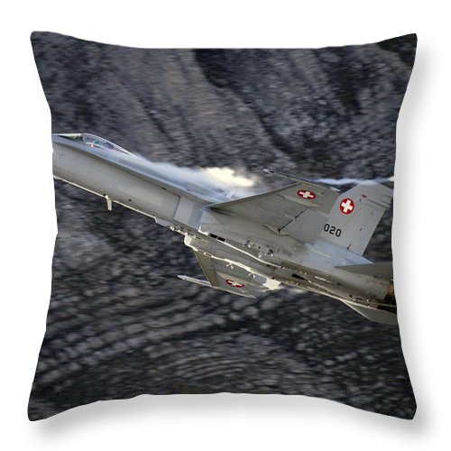 Axalp Throw Pillow featuring the photograph Superhornet by Angel Ciesniarska