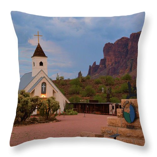 Scenic Throw Pillow featuring the photograph Superstition Mountain State Park by Richard Jenkins