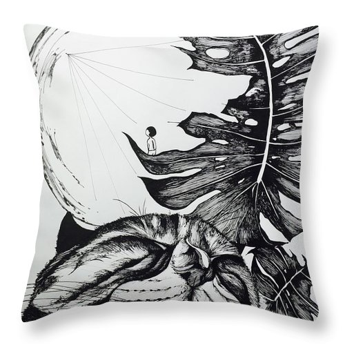 Cat Throw Pillow featuring the drawing Talking To The Moon by Leilei Mo
