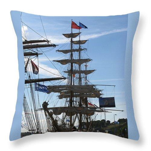 Tall Ship Throw Pillow featuring the photograph Tall Ship by Maria Joy