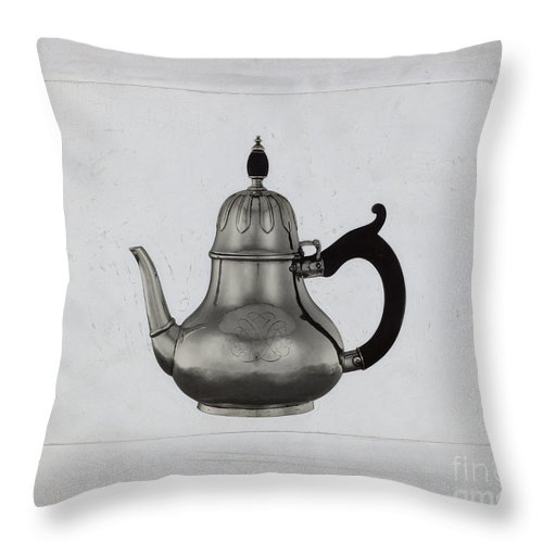 Throw Pillow featuring the drawing Teapot by American 20th Century