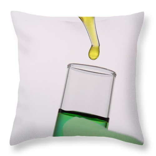 Chemist Throw Pillow featuring the photograph Test Tube In Science Research Lab by Olivier Le Queinec