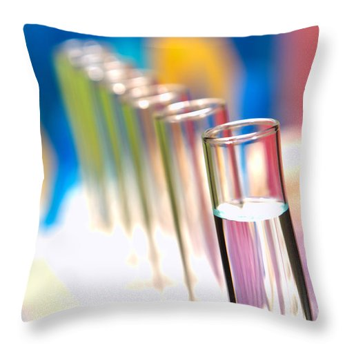 Test Throw Pillow featuring the photograph Test Tubes In Science Lab by Olivier Le Queinec