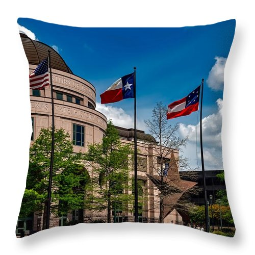 Bullock Texas State History Museum Throw Pillow featuring the photograph The Bullock Texas State History Museum by Mountain Dreams
