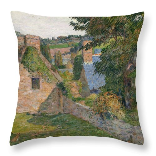 Gauguin Throw Pillow featuring the painting The Field Of Derout-lollichon by Paul Gauguin