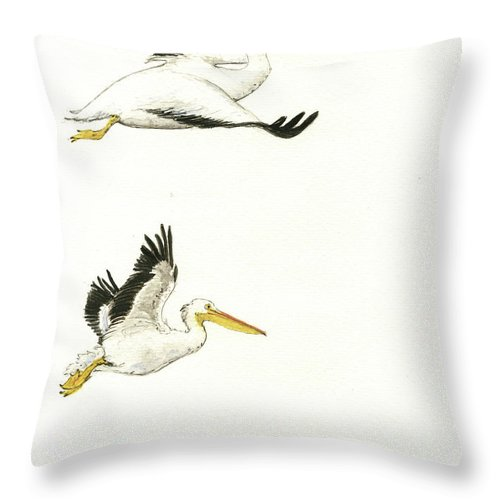 Pelican Art Throw Pillow featuring the painting The Fox And The Pelicans 2 by Juan Bosco