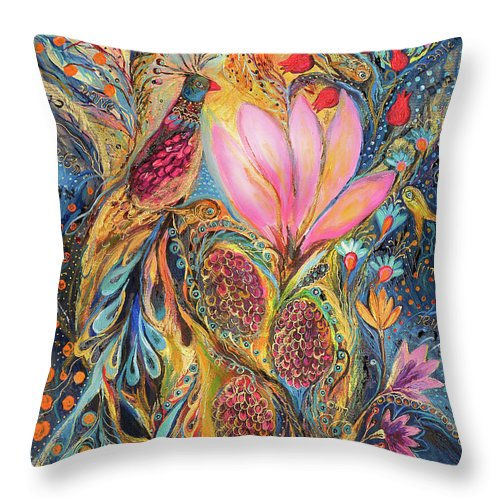 Original Throw Pillow featuring the painting The Grapes Of Holy Land by Elena Kotliarker
