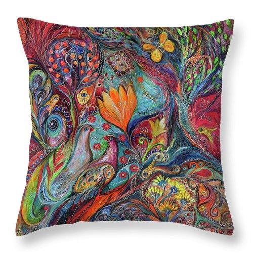 Original Throw Pillow featuring the painting The Magic Garden by Elena Kotliarker