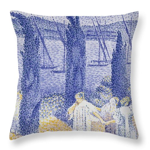 France Throw Pillow featuring the painting The Promenade by Henri Edmond Cross