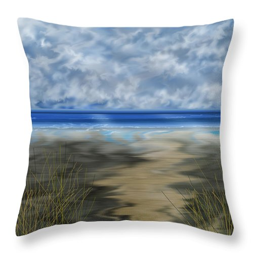 Anne Norskog Throw Pillow featuring the painting The Road Less Travelled by Anne Norskog