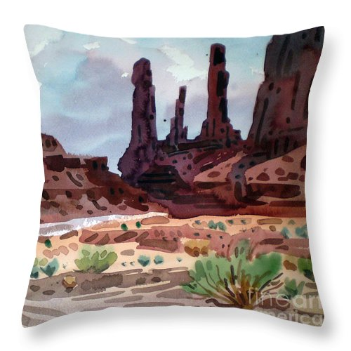Monument Valley Throw Pillow featuring the painting Three Sisters by Donald Maier
