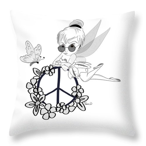 Tinker Bell Throw Pillow featuring the digital art Tinky by Tami Dalton