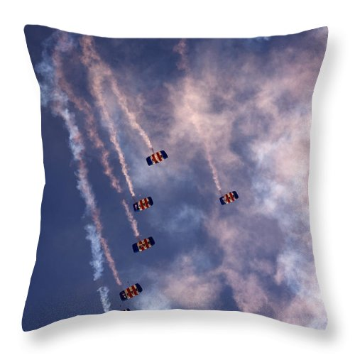 Raf Falcons Throw Pillow featuring the photograph Together We Fall by Angel Ciesniarska